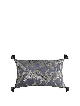 Gallery Gallery Palm Tassel Metallic Cushion In Grey Picture