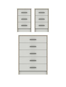Very Brianne Ready Assembled 3 Piece Package - 5 Drawer Chest And 2  ... Picture