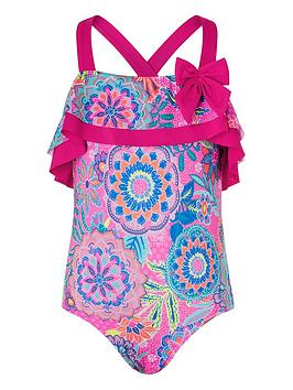 Monsoon Monsoon Girls S.E.W. Inca Frill Swimsuit - Pink Picture