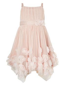 Monsoon Monsoon Girls Cascade Roses Hanky Hem Dress - Dusky Pink Picture