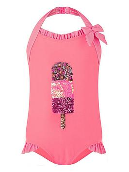 Monsoon Monsoon Girls Fabianna Sequin Lolly Swimsuit - Coral Picture
