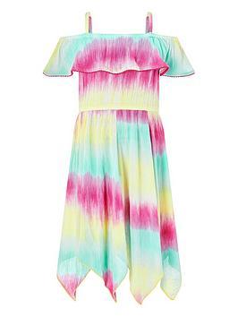 Monsoon Monsoon Girls Thaia Tie Dye Frill Dress - Multi Picture
