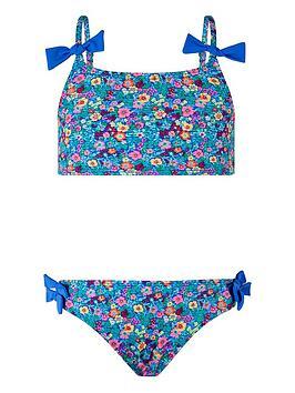 Monsoon Monsoon Girls Ebony Ditsy Bow Bikini - Blue Picture