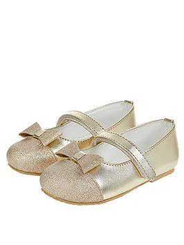 Monsoon Monsoon Baby Gracie Glitter Toe Cap Walker Shoe - Gold Picture