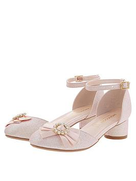 Monsoon Monsoon Girls Emmeline Diamante Bow Shoe - Pale Pink Picture
