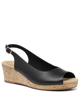 Hotter Hotter Tahiti Wedge Heeled Sandals - Black Picture