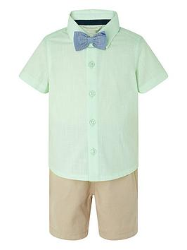 Monsoon Monsoon Boys Mateo 3-Piece Short, Shirt And Bow Tie - Mint Picture