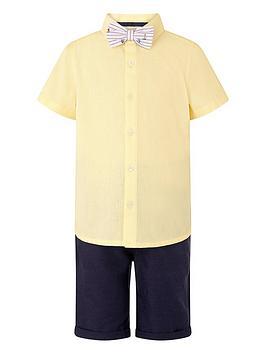 Monsoon Monsoon Boys Louis Linen 3-Piece Short, Shirt And Bow Tie - Lemon Picture