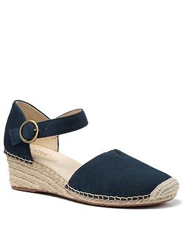 Hotter Hotter Pacific Ankle Strap Wedge Heeled Sandals - Navy Picture