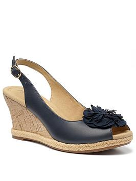 Hotter Hotter Hawaii Wedge Heeled Sandals - Navy Picture
