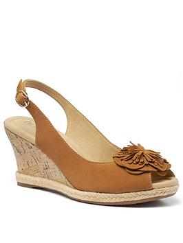 Hotter Hotter Hawaii Wedge Heeled Sandals - Tan Picture