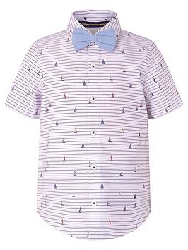 Monsoon Monsoon Boys Aaron Stripe Shirt And Bow Tie - Ivory Picture