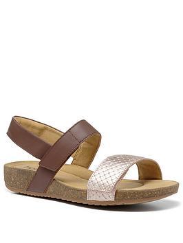 Hotter Hotter Haven Footbed Sandals - Dark Tan/Rose Gold Picture