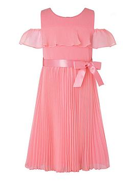Monsoon Monsoon Girls S.E.W. Kayleigh Cold Shoulder Dress - Coral Picture
