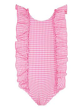 Monsoon Monsoon Baby Girls Geri Gingham Ruffle Swimsuit - Pink Picture
