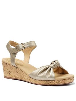 Hotter Hotter Palmas Leather Wedge Heeled Sandals - Soft Gold Picture