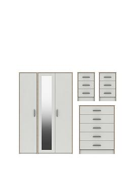 Brianne Part Assembled 4 Piece Package - 3 Door Mirrored Wardrobe, 5 Drawer Chest And 2 Bedside Chests