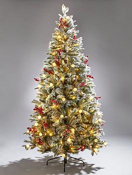 Product photograph showing 6ft Vermont Flocked Pre-lit Mixed Tips Christmas Tree