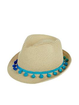 Monsoon   Girls Pom-Pom Trilby Hat - Natural