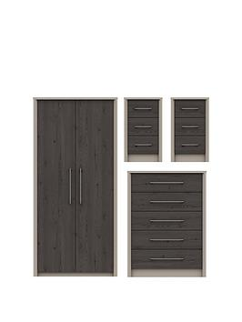 Very Smyth 3 Piece Ready Assembled Package - 2 Door Wardrobe, 5 Drawer  ... Picture