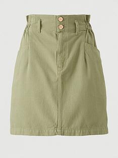 v-by-very-paper-bag-waist-denim-skirt-khaki