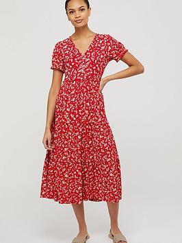 Monsoon Monsoon Natty Ditsy Print Midi Dress - Red Picture
