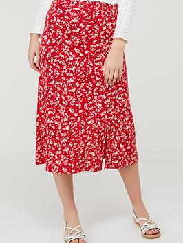 Monsoon Monsoon Natty Ditsy Print Midi Skirt - Red Picture