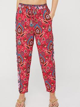 Monsoon Monsoon Tamalia Print Sustainable Trousers - Pink Picture