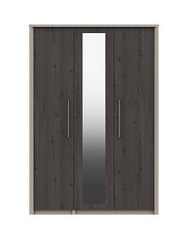 Very Smyth Part Assembled 3 Door Mirrored Wardrobe