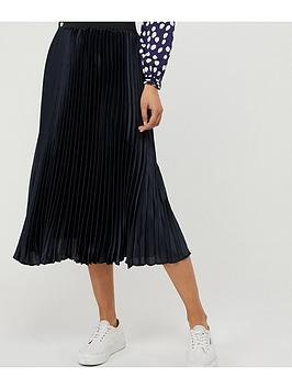 Monsoon Monsoon Penny Pleated Skirt - Navy Picture