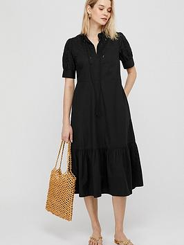 Monsoon Monsoon Wistiria Organic Cotton Embroidery Dress - Black Picture