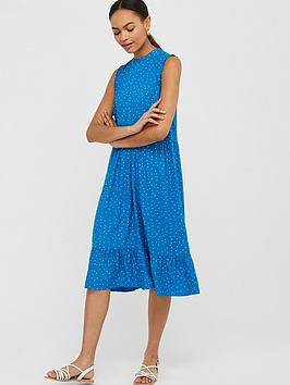 Monsoon Tilda Sustainable Spot Tiered Midi Dress - Blue