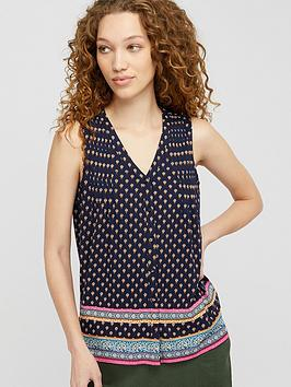 Monsoon Monsoon Ashleigh Border Print Sleeveless Top - Navy Picture