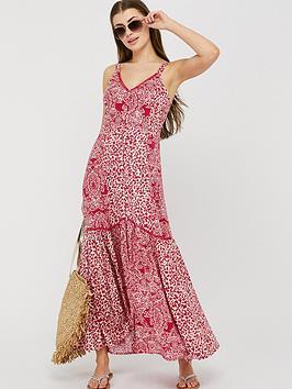 Monsoon Monsoon Sunita Print Ecovero Maxi Dress - Pink Picture