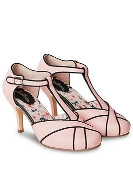 Joe Browns Joe Browns Very Vintage T-Bar Shoes - Pink Black Picture