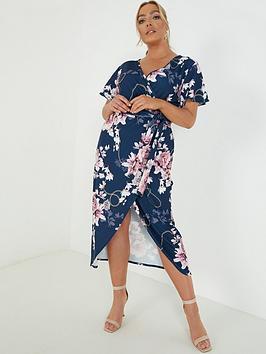 Quiz Curve Quiz Curve Floral And Chain Print Wrap Midi Dress - Navy Picture