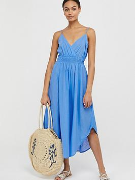 Monsoon Monsoon Amber Organic Cotton Hanky Hem Dress - Blue Picture