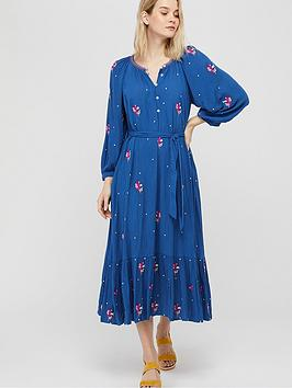 Monsoon Monsoon Clara Embroidered Ecovero Midi Dress - Blue Picture