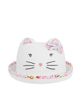 Monsoon Monsoon Baby Girls Organic Debbie Kitty Bowler Hat - Multi Picture