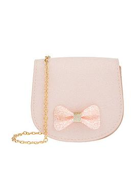 Monsoon Monsoon Girls Sasha Sparkle Bow Bag - Pink Picture