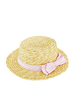 Monsoon   Girls Gingham Straw Lace Hat - Natural