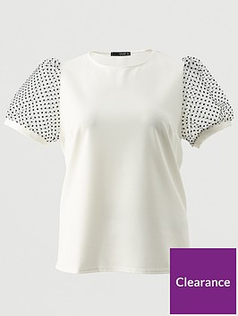 quiz-curve-polka-dot-organza-sleeve-top-cream