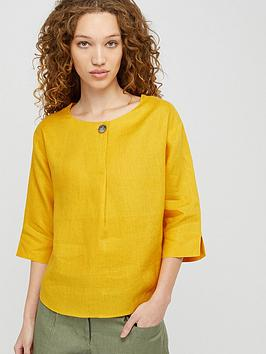 Monsoon Monsoon Scarlet Pure Linen T-Shirt - Yellow Picture