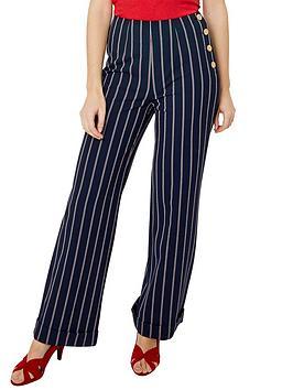 Joe Browns Joe Browns Stripe Wide Leg Trousers - Navy Picture