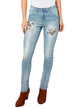 Joe Browns Joe Browns Embroidered Flowers Jeans - Light Wash Picture