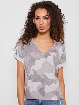 Mint Velvet Mint Velvet Camo Print Knitted Tee - Grey Picture