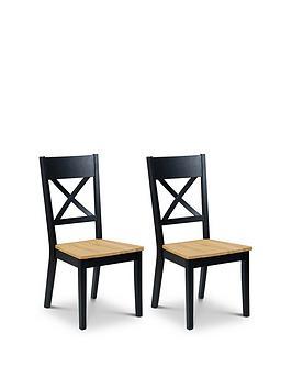 Julian Bowen Julian Bowen Pair Of Hockley Chairs Black/Oak Picture