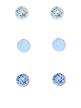 Accessorize Accessorize X3 Swarovski&Reg; Stud Earring Set - Blue Picture