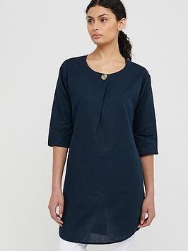 Monsoon Monsoon Scarlet Organic Cotton Linen Tunic Dress - Navy Picture
