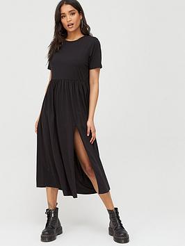 missguided-missguided-midi-smock-dress-black